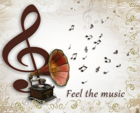 Music poster with gramophone and treble clef photo