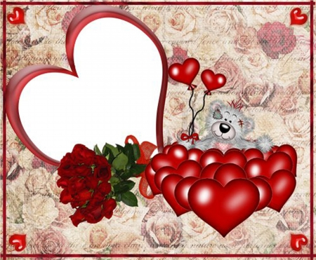 Romantic framework with a bear and hearts photo