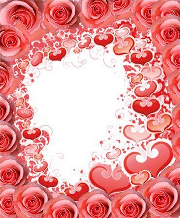 Quadro romantico con rose e cuori Archivio Fotografico - 17210196