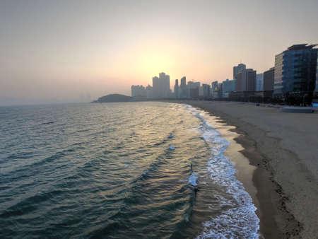 Early Spring of Haeundae Beach, Busan, South Korea, Asia when mar-12-2018
