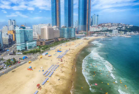 Aerial View of Summer Haeundae Beach,, Busan, South Korea Asia