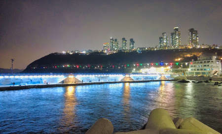 Night View of Cheongsapo Port in Haeundae, Busan, South Korea, Asia. Фото со стока