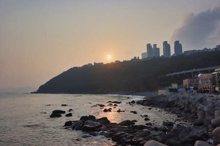 Sunset of Cheongsapo Port in Haeundae, Busan, South Korea, Asia. Фото со стока