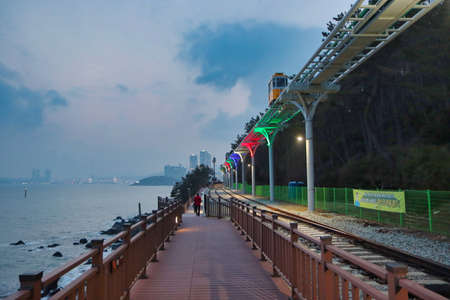 Scenery of Haeundae Beach Train, Busan, South Korea, Asia.