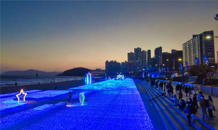 Light Festival in haeundae, Busan, South Korea, Asia.
