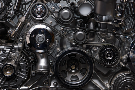 new motor vehicles: A fragment of the engine Stock Photo