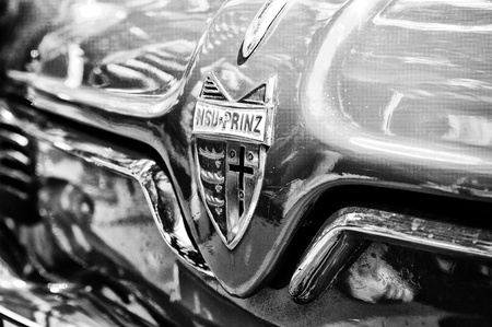 Radiator  engine cooling  and the emblem of the car NSU Sportprinz  Black and White , the exhibition  125 car history - 125 years of history Kurfurstendamm , May 28, 2011 in Berlin, Germany