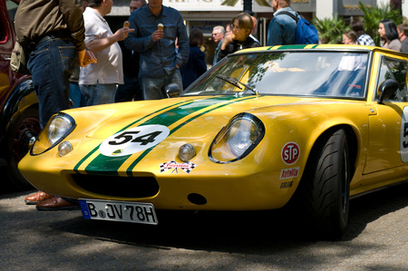 elite: The sports car Lotus Elite Type 14, the exhibition  125 car history - 125 years of history Kurfurstendamm , May 28, 2011 in Berlin, Germany Editorial