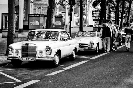 Car Mercedes-Benz 280 SE 3 5 Coupe  black and white , the exhibition  125 car history - 125 years of history Kurfurstendamm , May 28, 2011 in Berlin, Germany