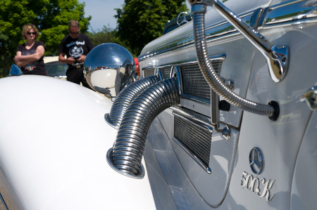 corrugation: Detail of car Mercedes-Benz 500K,  The oldtimer show  in MAFZ, May 26, 2012 in Paaren im Glien, Germany