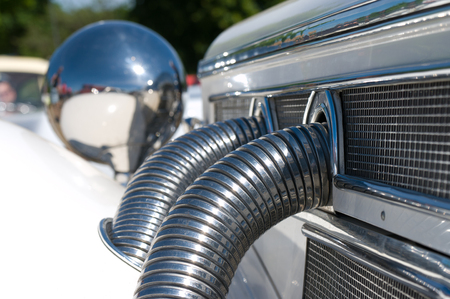 exhaust system: The exhaust system is Mercedes-Benz 500K,  The oldtimer show  in MAFZ, May 26, 2012 in Paaren im Glien, Germany
