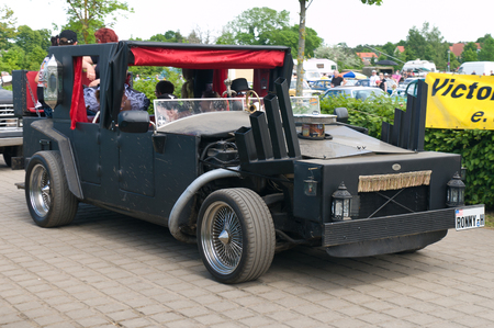 An unusual and homemade Hot rod,  The oldtimer show  in MAFZ, May 26, 2012 in Paaren im Glien, Germany