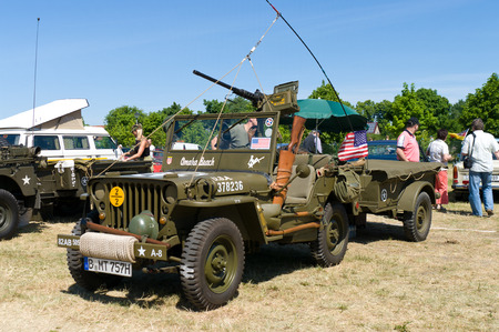 mb: Car Willys MB US Army Jeep,  The oldtimer show  in MAFZ, May 26, 2012 in Paaren im Glien, Germany