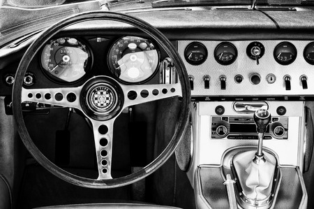 Cabin car Jaguar E-Type  Black - White ,  The oldtimer show  in MAFZ, May 26, 2012 in Paaren im Glien, Germany