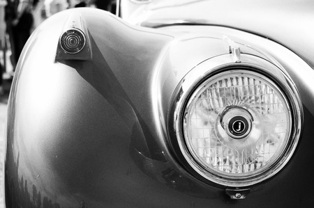 Detail of car Jaguar Mark 2  Black and White ,  The oldtimer show  in MAFZ, May 26, 2012 in Paaren im Glien, Germany