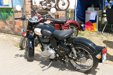 enfield: Motorcycle Royal Enfield Bullet 500,  The oldtimer show  in MAFZ, May 26, 2012 in Paaren im Glien, Germany