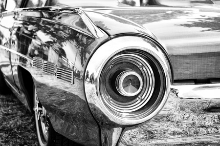 thunderbird: A fragment of the car Ford Thunderbird  Black and White ,  The oldtimer show  in MAFZ, May 26, 2012 in Paaren im Glien, Germany