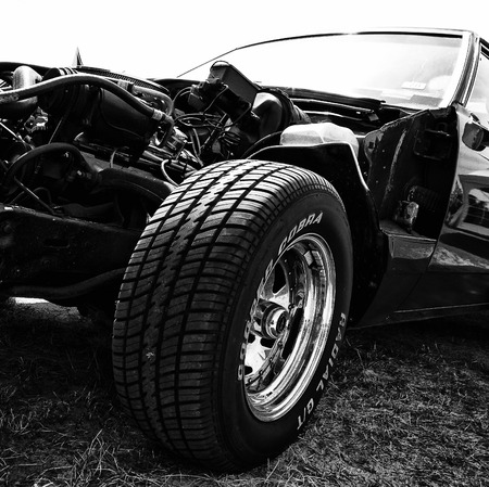 Detail of a self-made car based on Chevrolet Caprice and El Camino  Black and White ,  The oldtimer show  in MAFZ, May 26, 2012 in Paaren im Glien, Germany