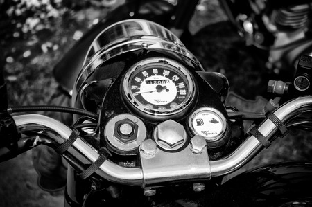 enfield: The dashboard motorcycle Royal Enfield Bullet 500  Black and White ,  The oldtimer show  in MAFZ, May 26, 2012 in Paaren im Glien, Germany