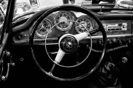 Cab Alfa Romeo Giulietta Sprint Speciale  Black and White ,  The oldtimer show  in MAFZ, May 26, 2012 in Paaren im Glien, Germany