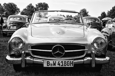 PAAREN IM GLIEN, GERMANY - MAY 19  Car Mercedes-Benz 190SL  black and white ,  The oldtimer show  in MAFZ, May 19, 2013 in Paaren im Glien, Germany Editorial