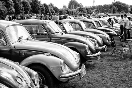 PAAREN IM GLIEN, GERMANY - MAY 19  The Several cars Volkswagen Beetle  black and white ,  The oldtimer show  in MAFZ, May 19, 2013 in Paaren im Glien, Germany