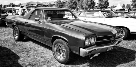 PAAREN IM GLIEN, GERMANY - MAY 19  Car Chevrolet El Camino  black and white ,  The oldtimer show  in MAFZ, May 19, 2013 in Paaren im Glien, Germany