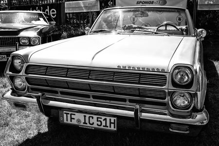 rambler: PAAREN IM GLIEN, GERMANY - MAY 19: Full-size car Rambler Ambassador 990 convertible, (black and white) The oldtimer show in MAFZ, May 19, 2013 in Paaren im Glien, Germany