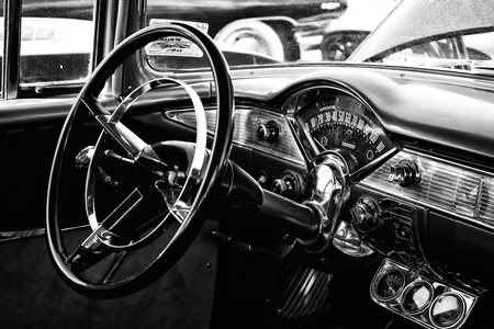 bel air: PAAREN IM GLIEN, GERMANY - MAY 19: The drivers full-size car Chevrolet Bel Air, black and white, The oldtimer show in MAFZ, May 19, 2013 in Paaren im Glien, Germany Editorial