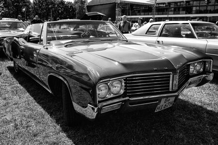 cabrio: PAAREN IM GLIEN, GERMANY - MAY 19: Full-size car Buick Le Sabre Custom 1967, Cabrio, (black and white), The oldtimer show in MAFZ, May 19, 2013 in Paaren im Glien, Germany