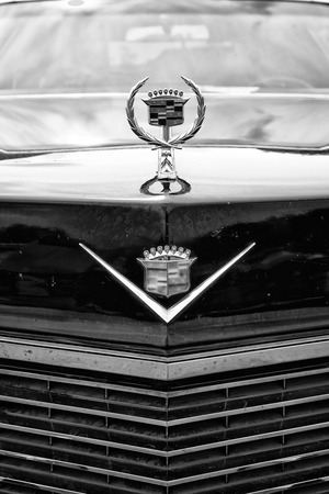 BERLIN - MAY 11  Detail of the radiator grille and emblem Cadillac Coupe de Ville  black and white , 26th Oldtimer-Tage Berlin-Brandenburg, May 11, 2013 Berlin, Germany