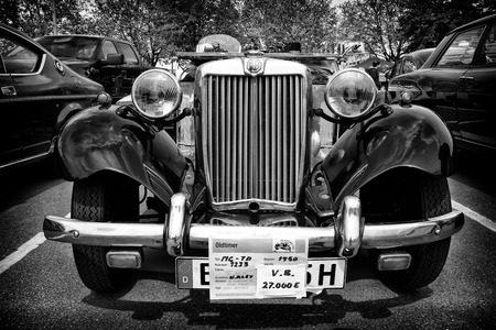 coachwork: BERLIN - MAY 11: Sport car MG TD Midget (black and white), 26th Oldtimer-Tage Berlin-Brandenburg, May 11, 2013 Berlin, Germany