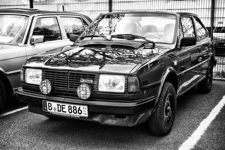tage: BERLIN - MAY 11: Car Skoda 130 Rapid (black and white), 26th Oldtimer-Tage Berlin-Brandenburg, May 11, 2013 Berlin, Germany