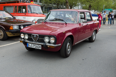 tage: BERLIN - MAY 11  Italian four-door sedan Alfa Romeo Giulia Nuova Super, 26th Oldtimer-Tage Berlin-Brandenburg, May 11, 2013 Berlin, Germany