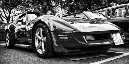 tage: BERLIN - MAY 11  Sport car Chevrolet Corvette C3 Stingray coupe  black and white , 26th Oldtimer-Tage Berlin-Brandenburg, May 11, 2013 Berlin, Germany Editorial