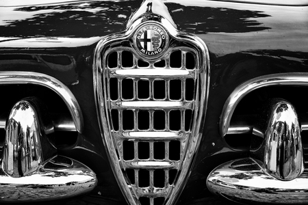 BERLIN - MAY 11: Emblem Alfa Romeo Giuletta Spider (black and white), 26. Oldtimer-Tage Berlin-Brandenburg, May 11, 2013 Berlin, Germany Editorial