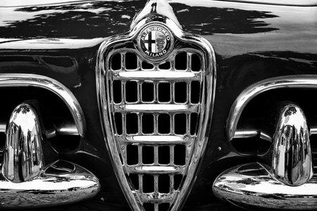 BERLIN - MAY 11: Emblem Alfa Romeo Giuletta Spider (black and white), 26. Oldtimer-Tage Berlin-Brandenburg, May 11, 2013 Berlin, Germany Editoriali