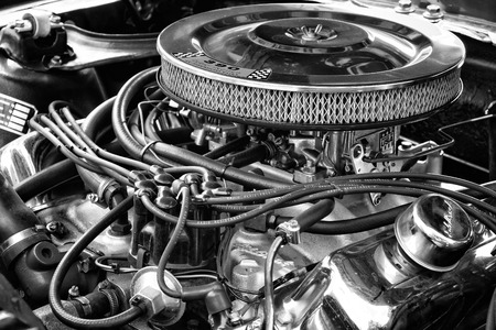 BERLIN - MAY 11  Engine Shelby Mustang GT350, black and white, close-up, 26th Oldtimer-Tage Berlin-Brandenburg, May 11, 2013 Berlin, Germany Editoriali