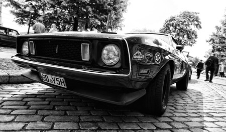 mach 1: BERLIN - MAY 11  Car Ford Mustang Mach 1  black and white , 26th Oldtimer-Tage Berlin-Brandenburg, May 11, 2013 Berlin, Germany