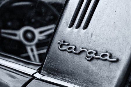 BERLIN, GERMANY - MAY 11  Detail of the Porsche 911 Targa 2,4 T close-up,  Black and White ,  26  Oldtimer-Tage Berlin-Brandenburg , May 11, 2013 Berlin, Germany