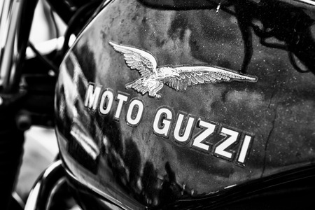 BERLIN - MAY 11  Fuel tank Italian motorcycle Moto Guzzi,  black and white , 26th Oldtimer-Tage Berlin-Brandenburg, May 11, 2013 Berlin, Germany Editorial
