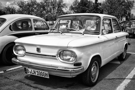 BERLIN - MAY 11: Car NSU 1000, (black and white), 26th Oldtimer-Tage Berlin-Brandenburg, May 11, 2013 Berlin, Germany
