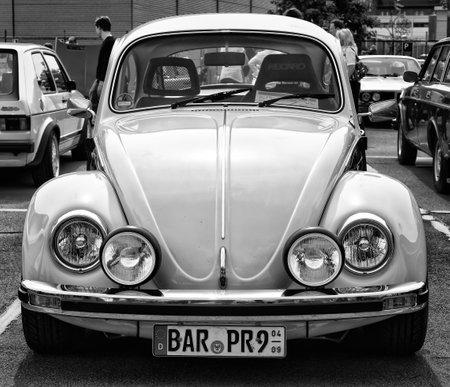 BERLIN - MAY 11: Car Volkswagen Beetle (black and white), 26th Oldtimer-Tage Berlin-Brandenburg, May 11, 2013 Berlin, Germany Editoriali