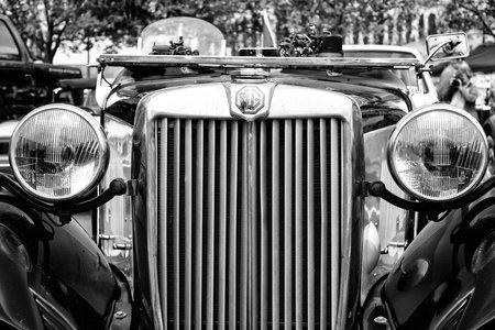 td: BERLIN - MAY 11: Sport car MG TD Midget, close-up, (black and white), 26th Oldtimer-Tage Berlin-Brandenburg, May 11, 2013 Berlin, Germany Editorial