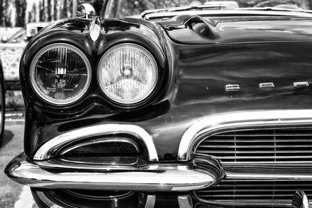 coachwork: BERLIN - MAY 11: Detail of the front of the sports car Chevrolet Corvette (C1), black and white, 26th Oldtimer-Tage Berlin-Brandenburg, May 11, 2013 Berlin, Germany Editorial