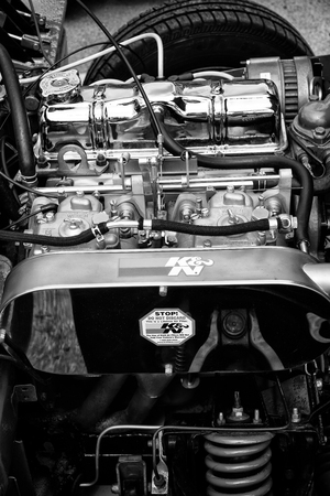 weber: BERLIN - MAY 11: Engine British sports car Triumpf Spitfire 1500 close-up (black and white) 26th Oldtimer-Tage Berlin-Brandenburg, May 11, 2013 Berlin, Germany