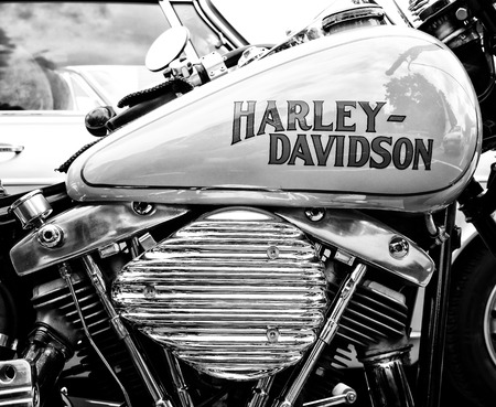 BERLIN - MAY 11: Detail of the motorcycle Harley-Davidson (Black and White), 26th Oldtimer-Tage Berlin-Brandenburg, May 11, 2013 Berlin, Germany