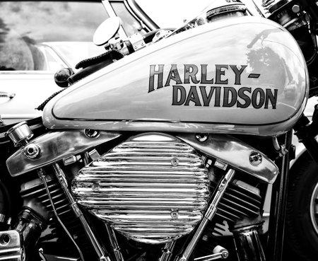BERLIN - MAY 11: Detail of the motorcycle Harley-Davidson (Black and White), 26th Oldtimer-Tage Berlin-Brandenburg, May 11, 2013 Berlin, Germany