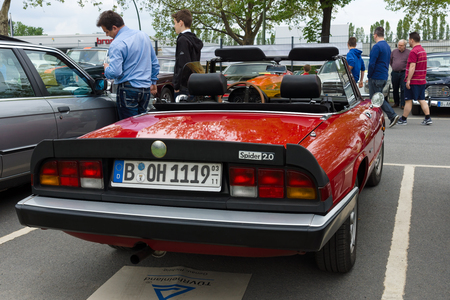 2 0: BERLIN - MAY 11  The sports car Alfa Romeo Spider 2 0, a rear view, 26th Oldtimer-Tage Berlin-Brandenburg, May 11, 2013 Berlin, Germany