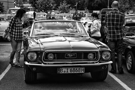 mustang gt: BERLIN - MAY 11  The sports car Ford Mustang GT convertible  black and white , 26th Oldtimer-Tage Berlin-Brandenburg, May 11, 2013 Berlin, Germany Editorial
